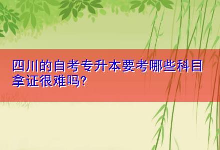 四川的自考专升本要考哪些科目 拿证很难吗?