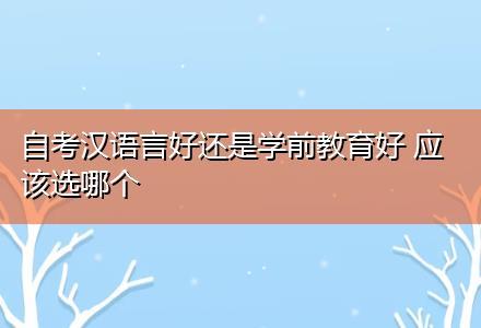 自考汉语言好还是学前教育好 应该选哪个