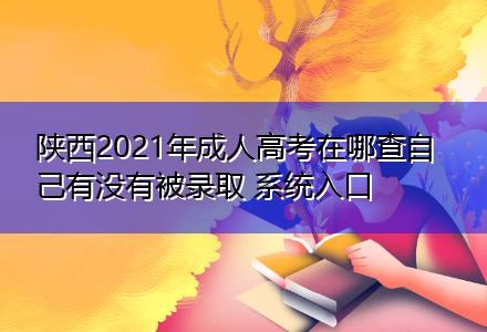 陕西2021年成人高考在哪查自己有没有被录取 系统入口