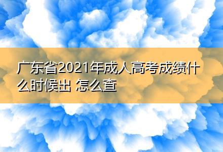 广东省2021年成人高考成绩什么时候出 怎么查