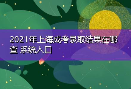 2021年上海成考录取结果在哪查(圆梦计划报名中心)