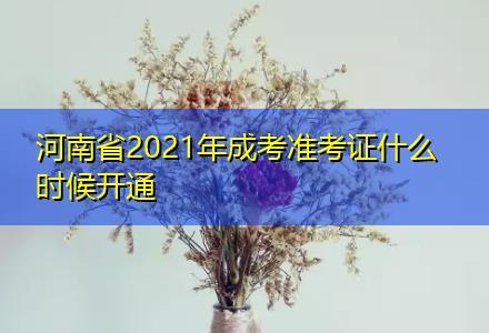 河南省2021年成考准考证什么时候开通