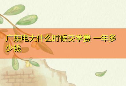 广东电大什么时候交学费 一年多少钱