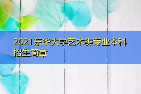 2021东华大学艺术类专业本科招生简章