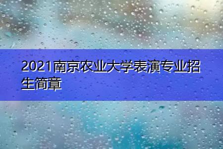 2021南京农业大学表演专业招生简章