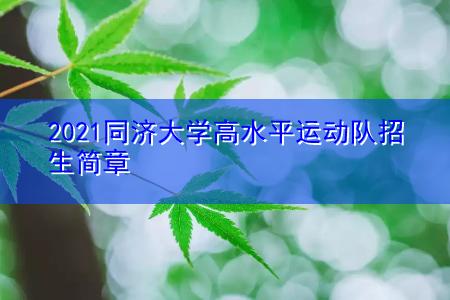 2021同济大学高水平运动队招生简章