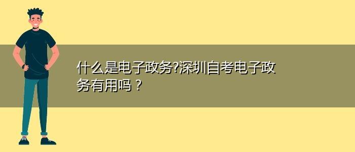 什么是电子政务?深圳自考电子政务有用吗?