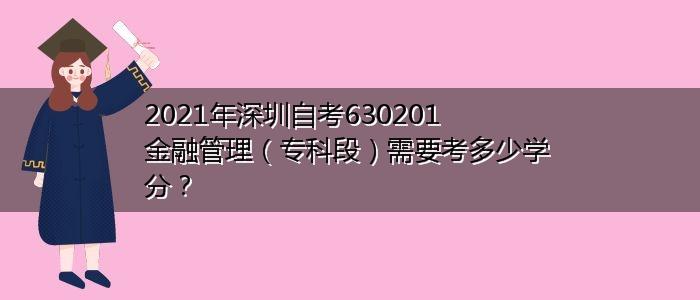 2021年深圳自考630201金融管理(专科段)需要考多少学分?